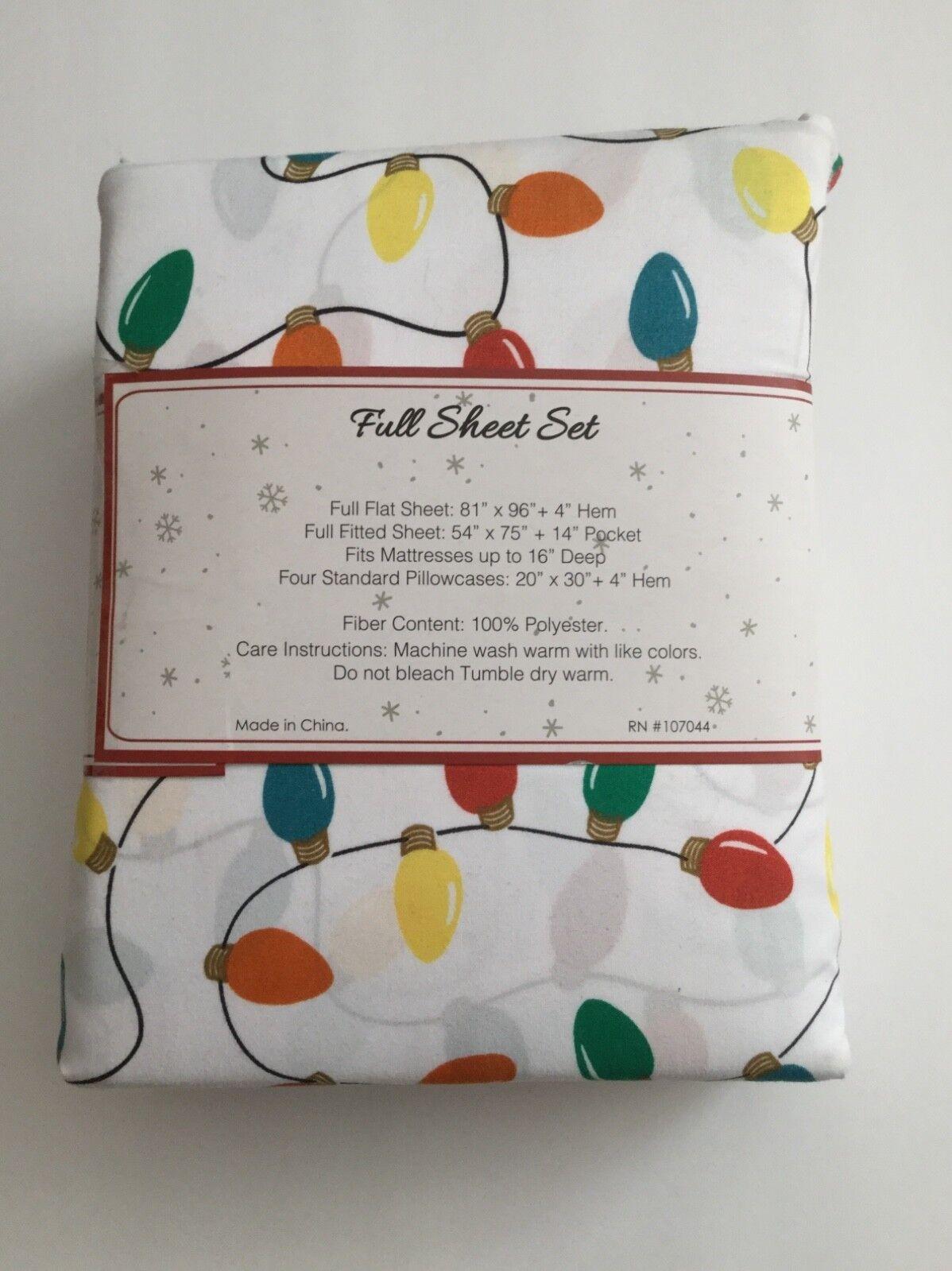 Mistletoe Lane Christmas Lights Full Sheet Set with 4 Standard Pillowcases