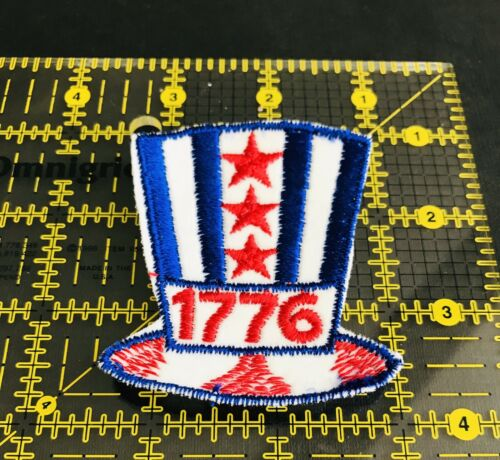 Patriotic Top Hat Red Whit Blue 1776 Patch USA Patch Embroidered New
