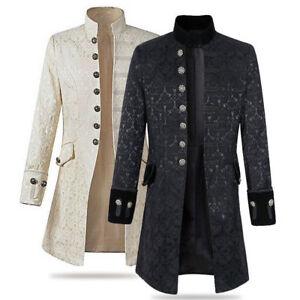 Men-039-s-Stand-Collar-Jacket-Gothic-Coat-Steampunk-Outwear-Top-Parka-Slim-Jackets