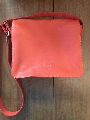 LONGCHAMP Le Foulonne Messenger Bag Leather Shoulder Orange MSRP $565 | eBay