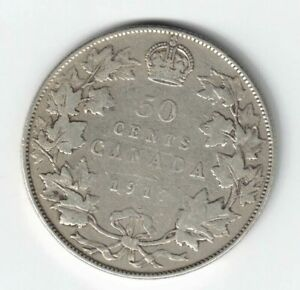 CANADA-1917-50-CENTS-HALF-DOLLAR-KING-GEORGE-V-CANADIAN-STERLING-SILVER-COIN