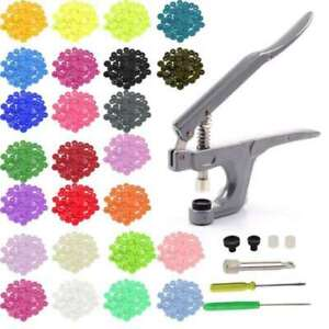 360pcs-Plastic-Resin-Press-Stud-Cloth-Tool-Kit-Fastener-Snap-Pliers-Button