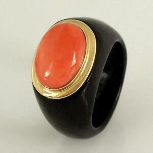 Ring-schwarze-Jade-mit-Koralle-in-585-Gelbgoldfassung-14K-NEU-ungetragen-Gr-55