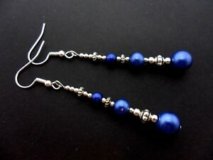Un par de pendientes de cristal de Perla Bead Azul con 925 Ganchos De Plata Maciza nuevo..