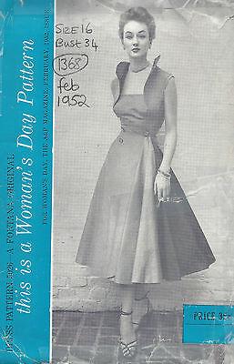 1952 Vintage Sewing Pattern B34 DRESS (1368) By Fontana