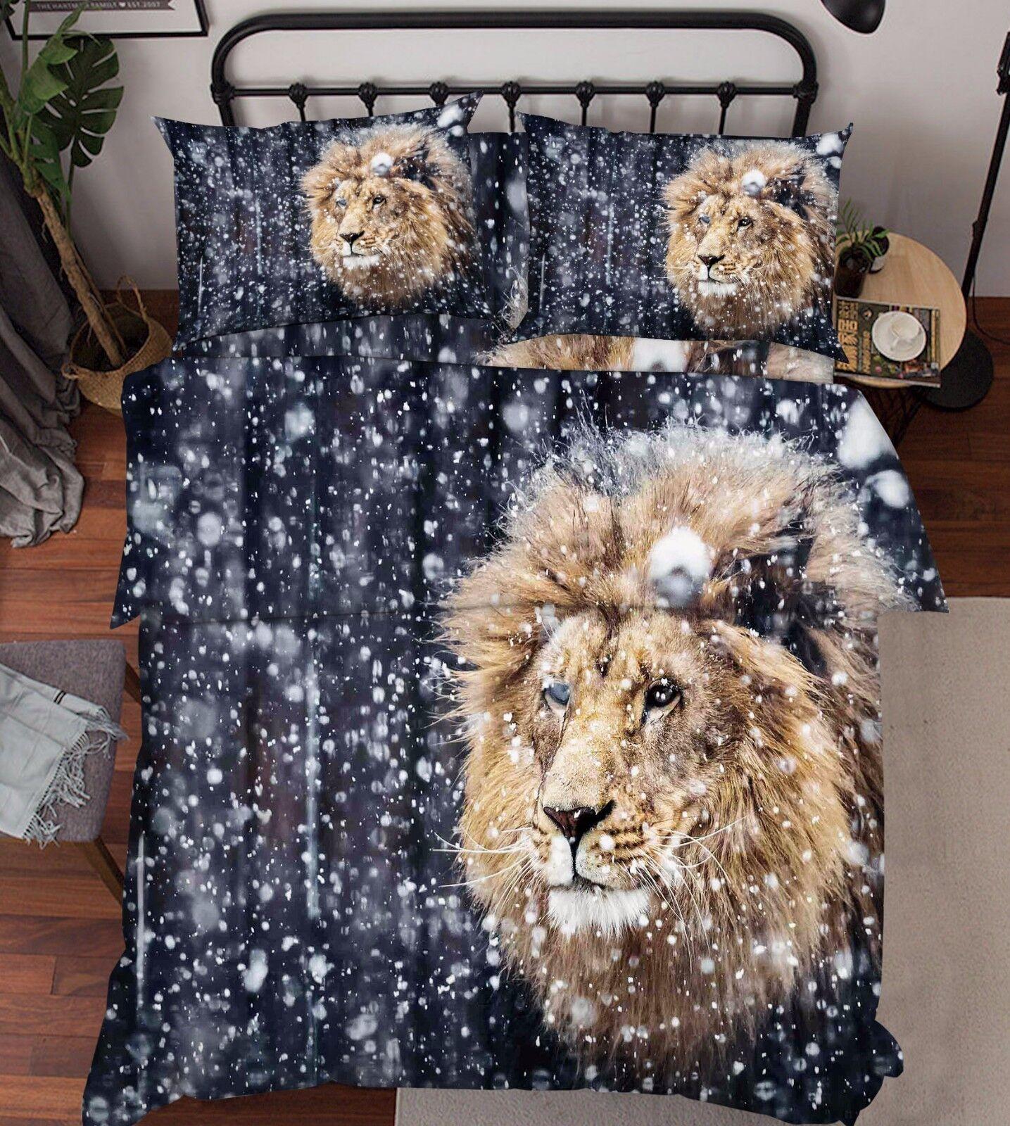 3D Snowing Lion 86 Bed Pillowcases Quilt Duvet Cover Set Single Queen UK Kyra