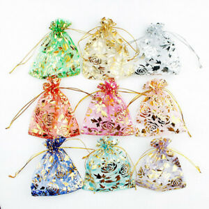 50pcs Organza Drawstring Candy Cookies Pouches Christmas New Year Gift Bags