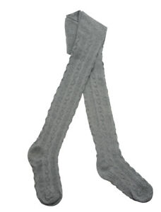 GIRLS TIGHTS CABLE KNIT COTTON RICH 2-8 YEARS PLAIN KNITTED TIGHTS BNWT