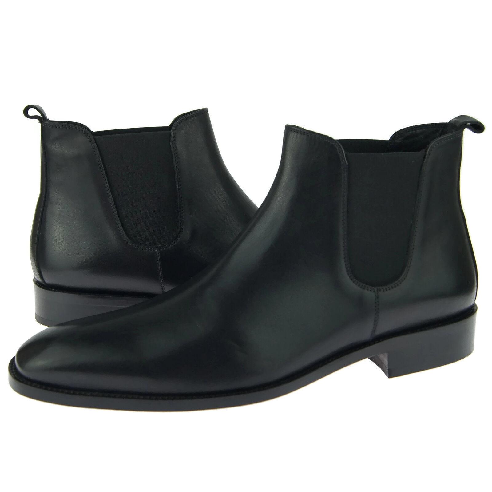 Alex D  Austin  Chelsea, hombre de vestir botas al Tobillo Informales de Cuero, Negro