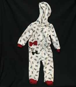 Koala-Baby-Hooded-Playsuit-24-M-2T-One-Piece-Fleece-Romper-Black-White-Red-Bows
