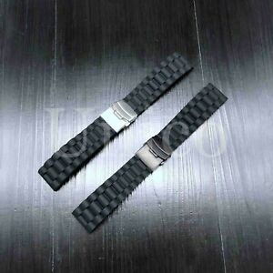 20-22-24-MM-Black-Silicone-Rubber-Watch-Band-Strap-Deployment-Clasp-Buckle-USA