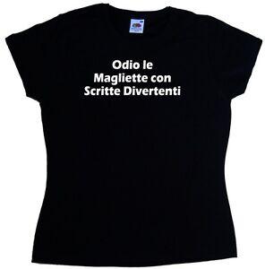 online retailer 31107 e9178 Dettagli su Odio le Magliette con Scritte Maglietta Donna Simpatica