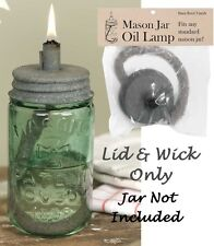 Mason Jar Oil Lamp Lid and Wick Metal Barn Roof Citronella or Regular Lamp Oil