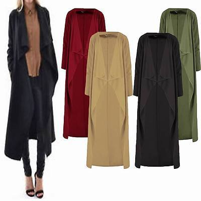 Ladies Crepe Waterfall Long Sleeve Open Front Trench Cardigan Duster Top Coat