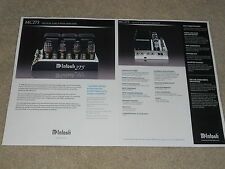 McIntosh MC275 Tube Amplifier Brochure, 2 pages, 2009, Specs, Info