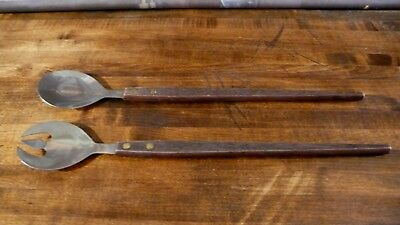 Modern Stainless Steel Serving Spoons Faux Fork Japan Mid Century Serving Salad