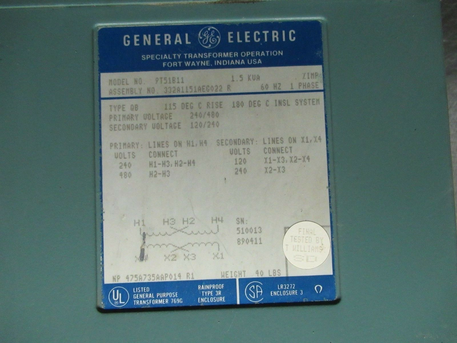 General Electric Type QB Transformer GE 1.5kva Ph1 9T51B11 on