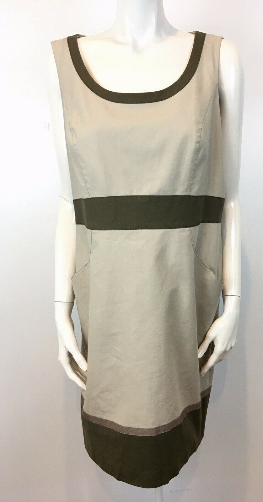 Lafayette 148 New York Sz 12 Cotton Blend Beige Khaki Sleeveless Sheath Dress C2