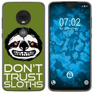 Moto-G7-Plus-Coque-en-Silicone-Crazy-Animals-sloth-M3-Case