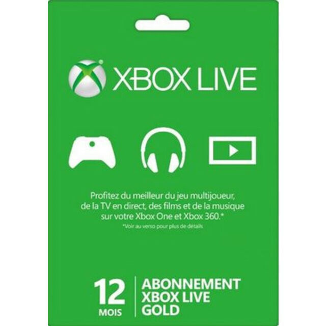 12 mois Carte Abonnement Xbox Live Gold 1 annuel pour Xbox 360 et Xbox One FR
