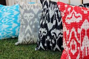IKAT-Cushion-Cover-100-Cotton-Embroidered-Indian-White-Kantha-Hand-Made-Pillow