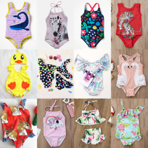 62f597fbad US Stock Kids Baby Girls Unicorn BIkini Swimwear Swimsuit Bathing ...