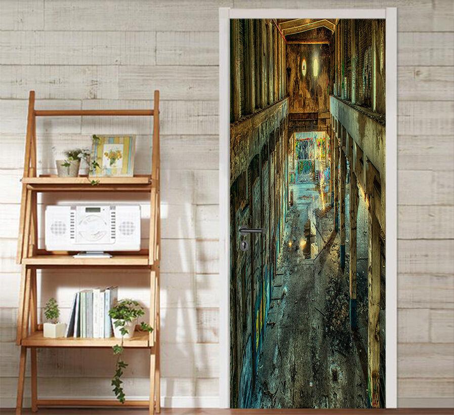 3D Korridor 732 Tür Wandmalerei Wandaufkleber Aufkleber AJ WALLPAPER DE Kyra