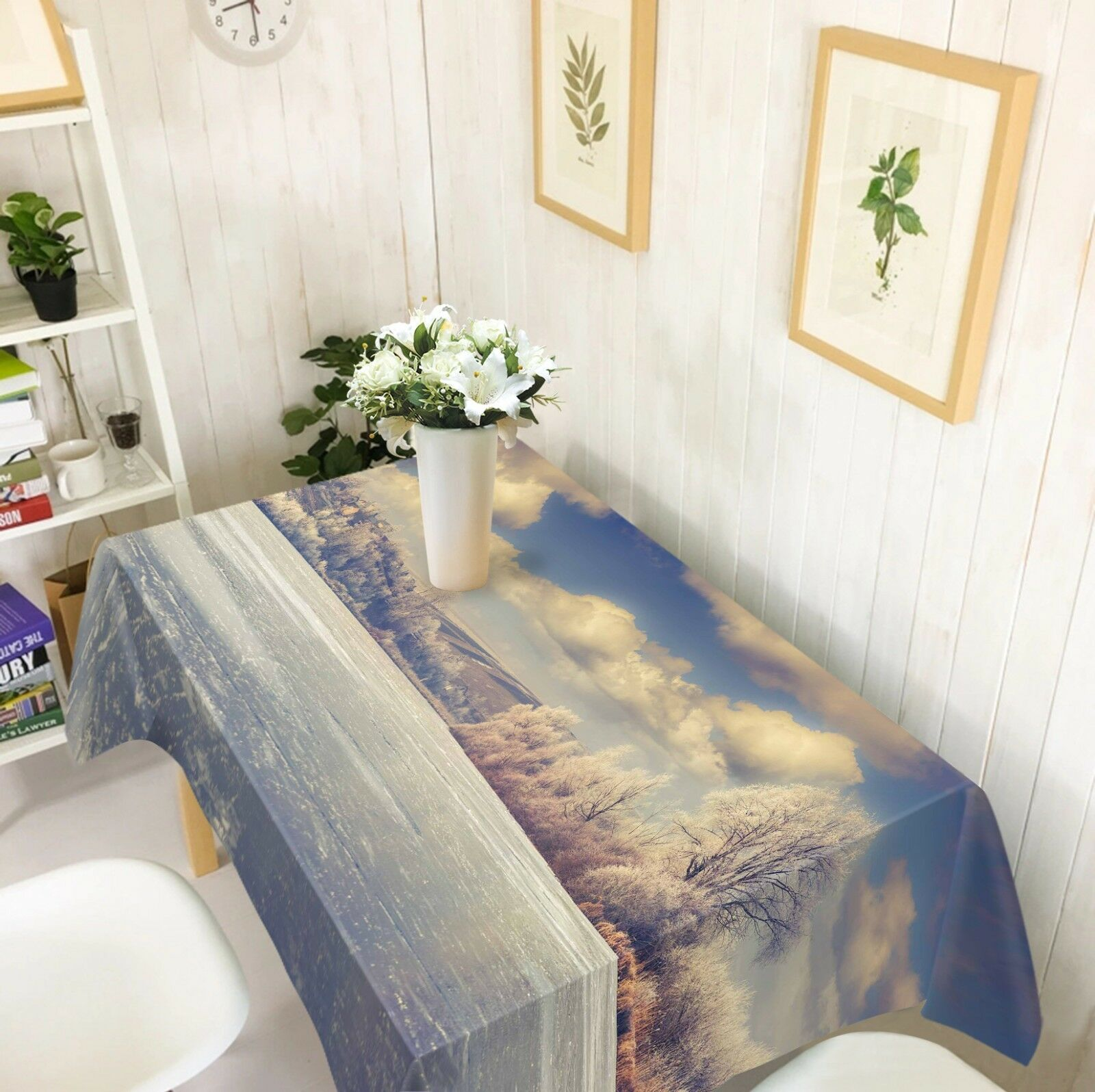 3D Lake Tree Sky 036 Tablecloth Table Cover Cloth Birthday Party Event AJ Summer