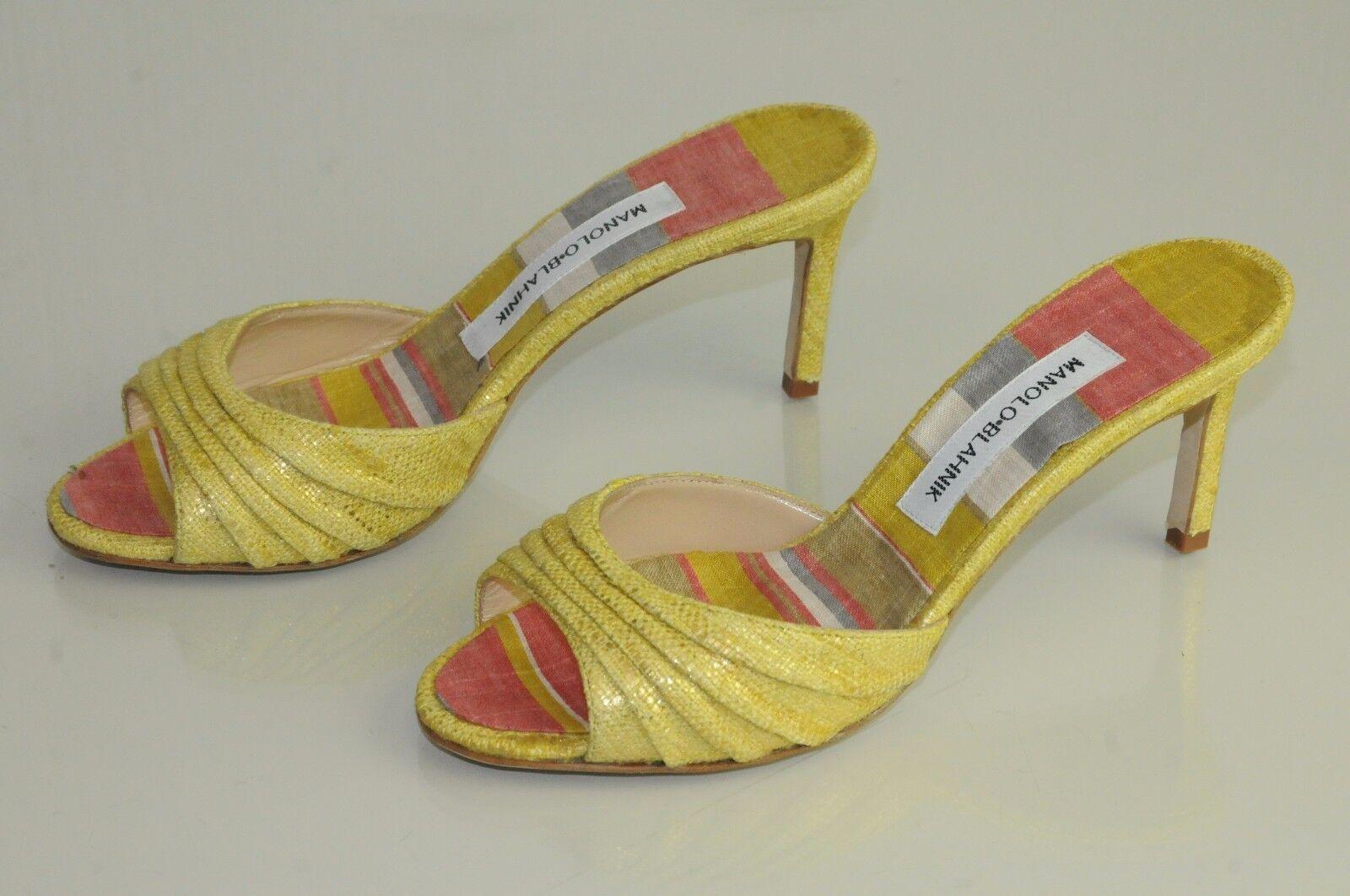 725 NEW MANOLO BLAHNIK Yellow Linen Mules Slides Sandals SHOES bb heels 37