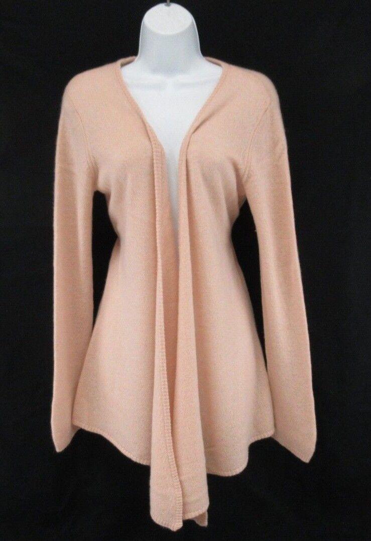 MINNIE pink Women's 100% Cashmere Open Cardigan Sweater Sweater Sweater Size L  C788 c50df1