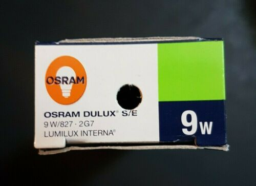 Three Osram Dulux S//E 9W//827 Luminux Interna New and Boxed 2G7 Lamps