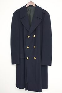 Valley-Forge-Military-Academy-Mens-Coat-46-Navy-Blue-Brass-Buttons-Overcoat