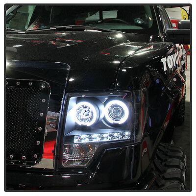 Black 09-14 Ford F150 CCFL Halo Projector Headlights w/LED Daytime Running Light