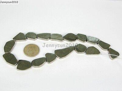 Natural Iron Pyrite Gemstone Freeformed Nugget Flat Slab Sliced Beads 15.5''