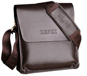 Image Is Loading Zefer Smart Leather Man Bag Messenger Ipad Brown