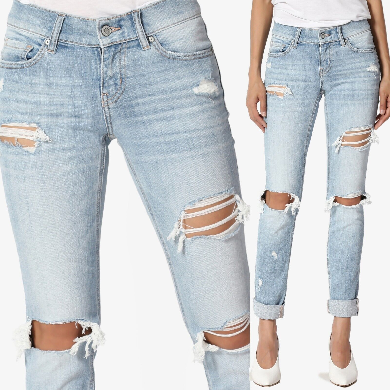 TheMogan Distressed Slim Straight Relaxed Roll Up Crop Jeans in Light bluee Wash