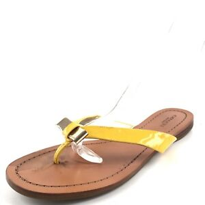 fd68afe287b Coach Sable Yellow Leather Bow Thong Flip Flop Sandals Women s Size ...