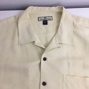 Tommy-Bahama-Men-039-s-XL-Yellow-Silk-SS-Floral-Hawaiian-Shirt
