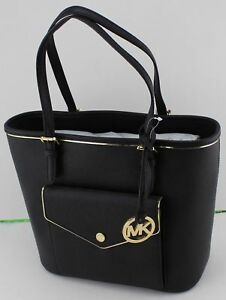 NWT-NEW-Michael-Kors-Specchio-Leather-Snap-Pocket-Tote-Black-Handbag-228-MSRP