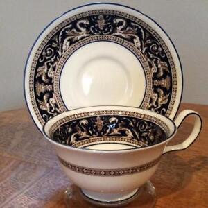 Wedgwood-Cobalt-Florentine-bone-china-Peony-shape-cup-amp-saucer-mark-W1956