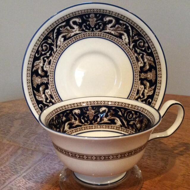 Wedgwood Cobalt Florentine bone china Peony shape cup & saucer mark  W1956