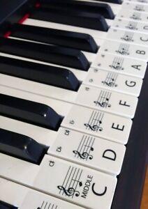 Learn-to-pronounce-lerne-Klavier-Keyboard-Aufkleber-zu-spielen-61-SET