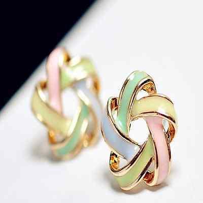 2014 Fashion Elegant Korean Women's Gold Metal Colorsful Twine Star Stud Earring