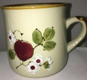 Vintage-Brown-Stoneware-Apple-Blossom-Flower-Red-Green-Coffee-Mug