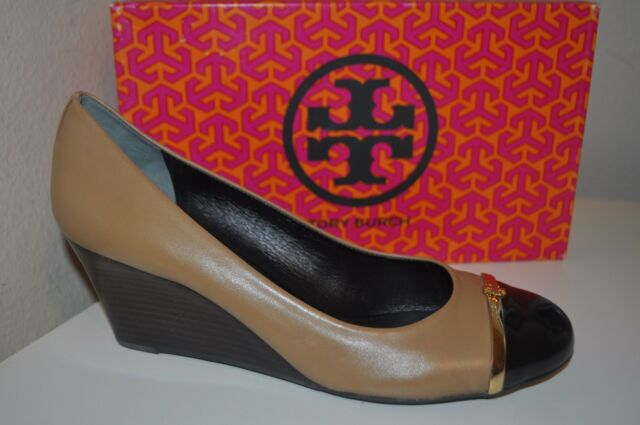 6ab897cb869bf2 NEW  295+ Tory Burch PACEY WEDGE PUMP SHOE Clay Beige   Black Leather Logo  10