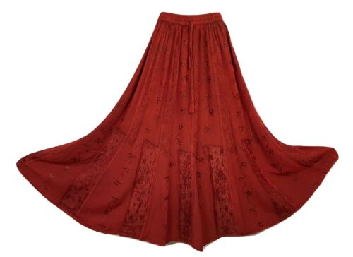 Maxi Skirt Embroidered Medieval Rayon Jacquard Panel Boho Plus Size 18 20 22 24