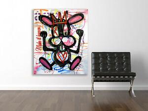 Original Street Art Grafitti Painting Canvas Modern Pop Wall Abstract Big Face