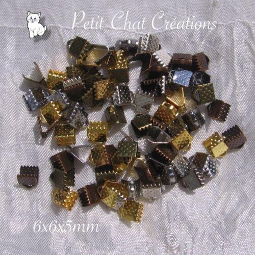 50 pinces embouts cache noeuds mix métal argenté bronze doré cuivre 6mm *AU18