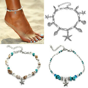 3-Style-Women-Boho-Beach-Shell-Turquoise-Beads-Anklet-Bracelet-Ankle-Foot-Chain