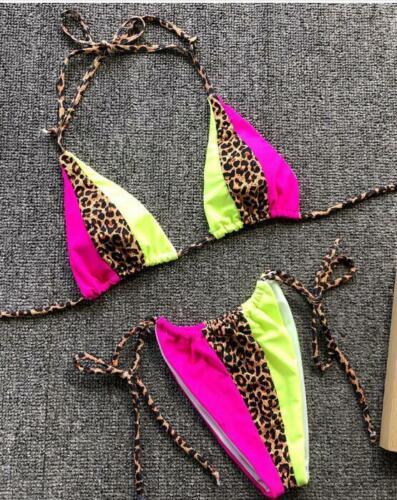 Le donne Chiaro Cinturino Bikini Set Neon Costume Da Bagno Leopardato Colore Block Party Costumi da bagno UK